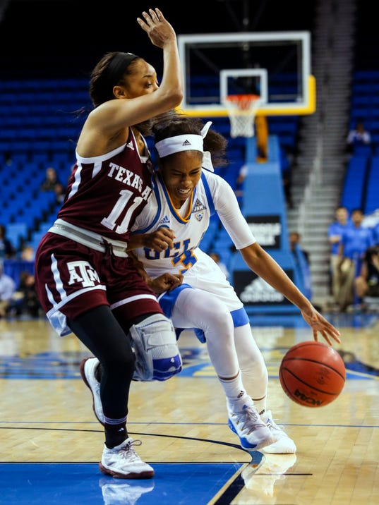 UCLA guard Jordin Canada, right, drives against Texas A&M guard Aahliyah Jackson during the first half of a second-round game in the NCAA women's college basketball tournament, Monday, March 20, 2017, in Los Angeles. (AP Photo/Ringo H.W. Chiu)