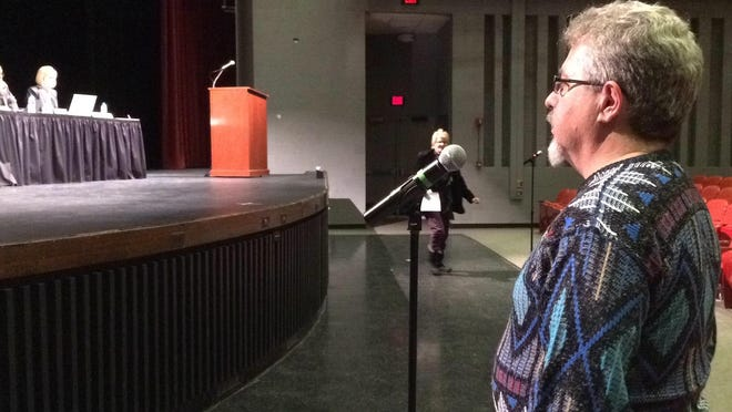 Harrison parent Bob Hiser told the Board of Education to delay making any decisions on closing high schools for 1-2 years.