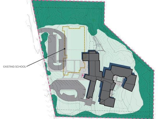 This draft graphic shows an overhead view of the lot