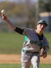 Anthony Capasso, of Mainland delivers a pitch during a recent victory over Holy Spirit.