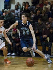 Pine Plains' Tyler Lydon drives in a game against Marlboro