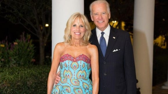 Jill Biden wore a stunning turquoise dress made in Congo at a White House dinner Tuesday.