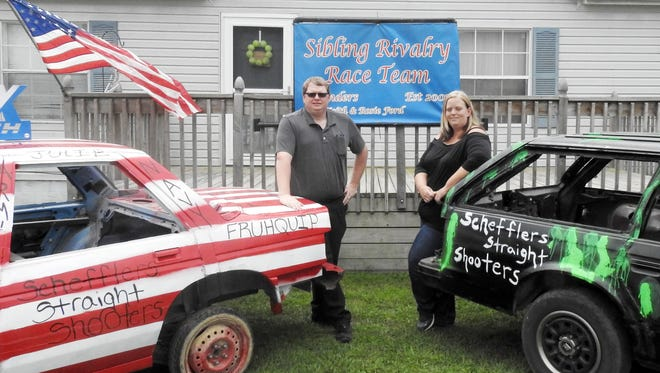 Jeff Keith and Rosie Ford have developed a sibling rivalry competing in the demolition derby at the Muskingum County Fair for the past decade.