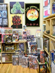 A myriad of geek-tastic merchandise is for sale at Morgan's Comics, including comic books, vintage video games, vinyl records and figurines.