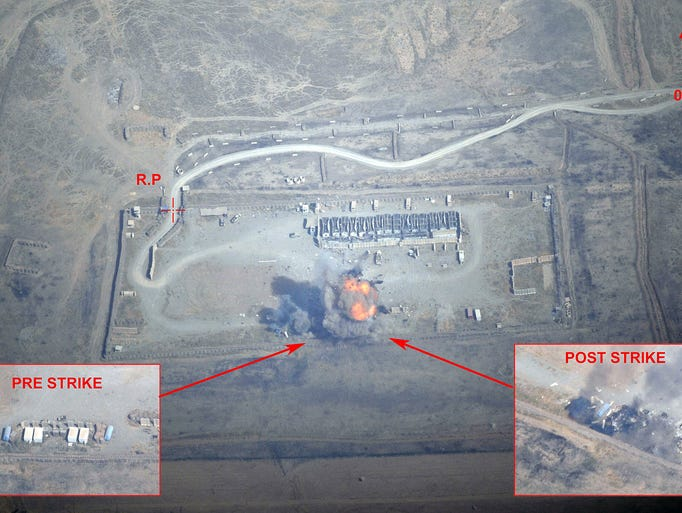 An image from a French military video shows the destruction of a munitions and fuel depot captured by Islamic State militants on Sept. 19 in Iraq. An airstrike by French fighter jets destroyed the logistics depot that was overrun and captured by the militants.