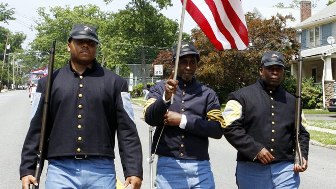 Marchers portray Buffalo Soldiers at the African American and Multicultural parade in Nyack in 2008.