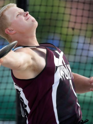 Winneconne's Caleb Rogalski releases the discus during the Division 2 discus throw during the WIAA state track and field meet Friday, June 1, 2018, at Veterans Memorial Stadium in La Crosse, Wis.