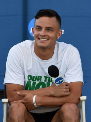 Jun 7, 2016; Eugene, OR, USA; Devon Allen of Oregon at press conference prior to the NCAA Track and Field championships at Hayward Field. Mandatory Credit: Kirby Lee-USA TODAY Sports