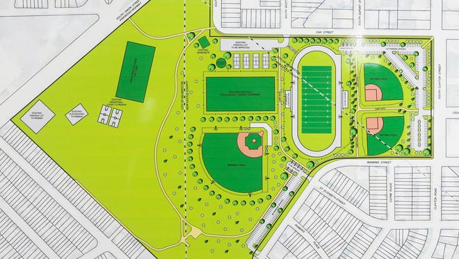 Proposed improvements to Canby Park in Wilmington include removing the defunct swimming pool and adding an artificial turf football field with track locker rooms, baseball and softball fields and more parking.