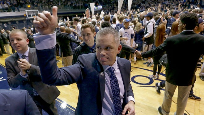 Butler coach Chris Holtmann celebrates after Bulldogs' 66-58 victory over No. 1 Villanova at Hinkle Fieldhouse on Jan. 4, 2017.