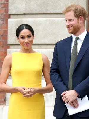 Prince Harry Duchess Meghan of Sussex attend a reception for Commonwealth youth leaders at Marlborough House in London, July 5, 2018.