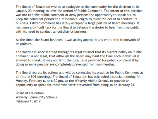 Letter posted on Waverly High School website