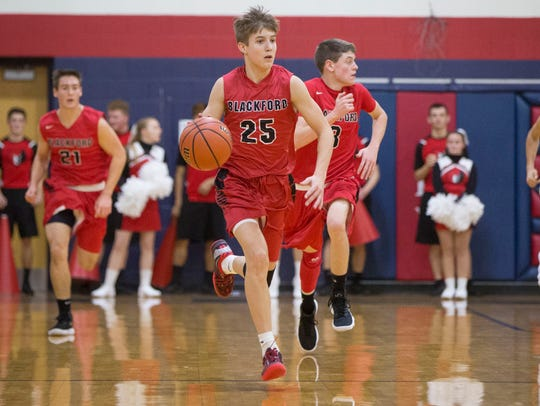 Blackford's Luke Brown takes the ball down court on