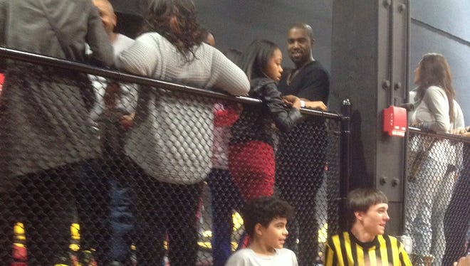 Kanye West at Stratosphere Trampoline Park in Wilmington Saturday night.