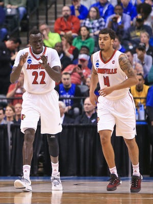 Louisville's Deng Adel cheers as Quentin Snider and he  head up the court during the Cardinals' 78-63 win over Jacksonville State Friday in Indianapolis at the NCAA tournament.