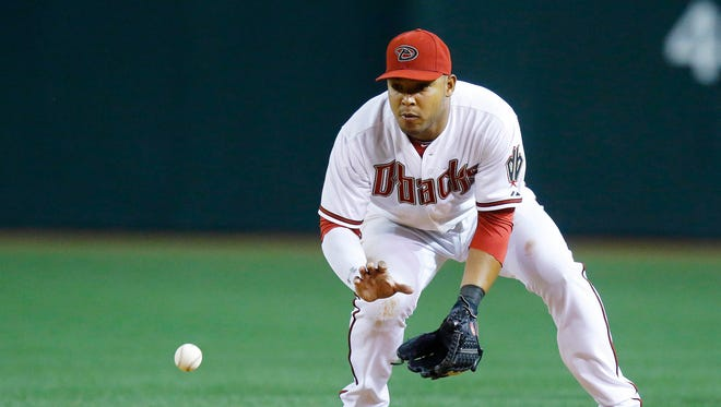 Arizona Diamondbacks third baseman Yasmany Tomas (24) makes a play for an out against Texas Rangers first baseman Prince Fielder (84) in the 6th inning of their  MLB game Tuesday, April 21, 2015  in Phoenix, Ariz.