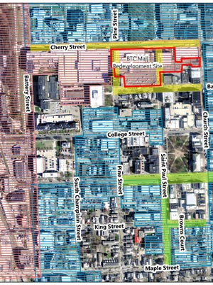 Burlington's Waterfront Tax Increment Financing District (shown by horizontal red lines) includes the Burlington Town Center property, the Macy's building and several parking garages between Cherry and Bank streets.