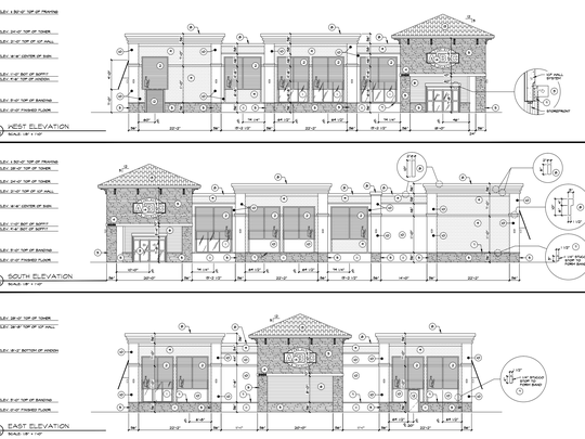 Elevation drawings of the ABC Fine Wine & Spirits store proposed at 21700 U.S. 41 South in Estero.