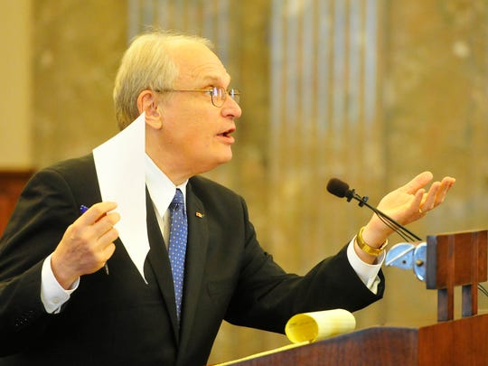 "Attorney David Raybin addresses the Court of Criminal Appeals about the Lindsey Lowe case Tuesday, Aug. 11, 2015, at the Tennessee Supreme Court chambers in downtown Nashville. Raybin said Hendersonville police used ""coercion and trickery"" to get Lowe to confess to smothering her newborn twins."