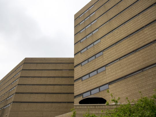 The Hamilton County Justice Center in downtown Cincinnati. The average daily inmate population is 1,424, according to their web site. It's under the jurisdiction of the Sheriff's office. It was built in 1985 at a cost of $54,000.000.