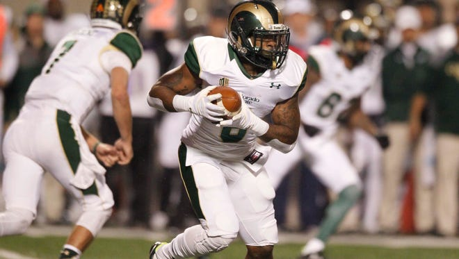 CSU running back Jasen Oden, who battled several injuries late in the season, runs the ball during a Nov. 28 game at Fresno State. Oden, the Rams' second-leading rusher, practiced without restrictions Friday for the first time since the middle of the season.