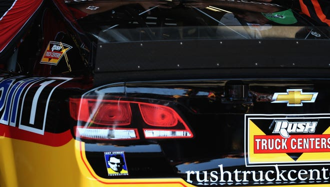 A Rush Truck Centers logo adorns the bumper of the No. 14 Chevrolet, shown here at Watkins Glen International.