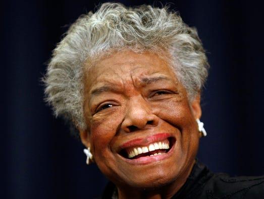 Nov. 21, 2008 file photo, poet Maya Angelou in Washington. (AP Photo/Gerald Herbert,File)