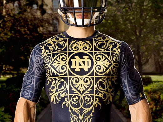 2014 Notre Dame football - Shamrock Series uniform base layer in detail (courtesy official apparel provider Under Armour)