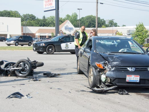 Jon Smith, 21, of Mansfield, was transported to MedCentral Mansfield Hospital with non-live threatening injuries after the motorcycle he was riding was struck by a car at Alpine Ave. Friday afternoon.
