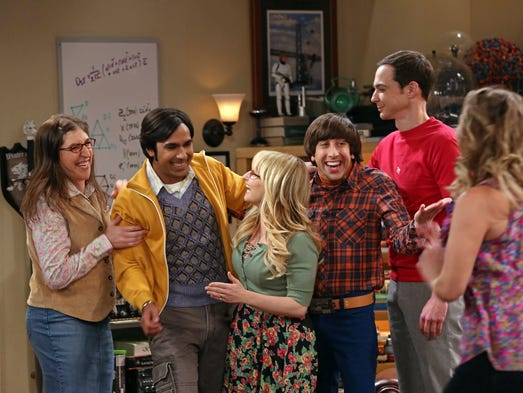 """Mayim Bialik, Kunal Nayyar, Melissa Rauch, Simon Helberg, Jim Parsons and Kaley Cuoco-Sweeting appear on """"The Big Bang Theory."""" The show was nominated for an Emmy Award for best comedy series on July 10, 2014."""