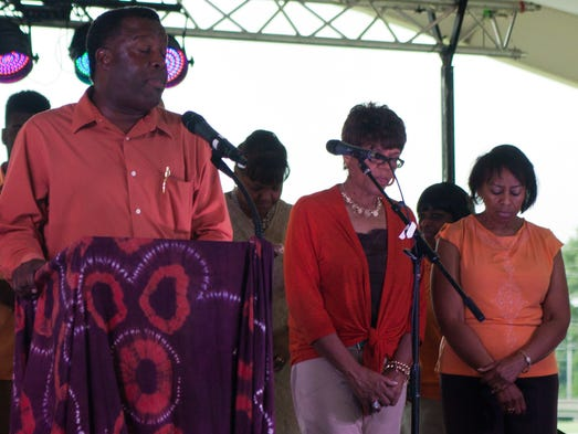 The Historic First Baptist Church moved their services to the Jackson Fairgrounds yesterday to join the African Street Festival.