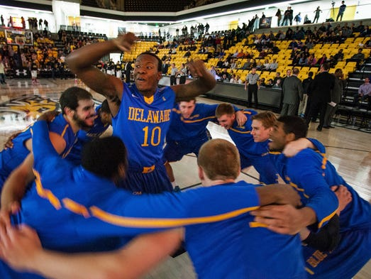 Delaware's Devon Saddler hypes up his teammates before the start of Delaware's game against Towson at the SECU Arena in Towson, Md. on Monday night, February 17, 2014.