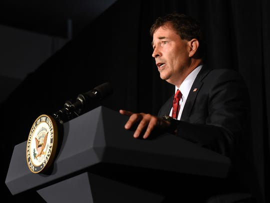 Troy Balderson addresses supporters during a campaign