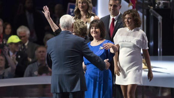 Karen Pence walks out to greet her husband, Republican