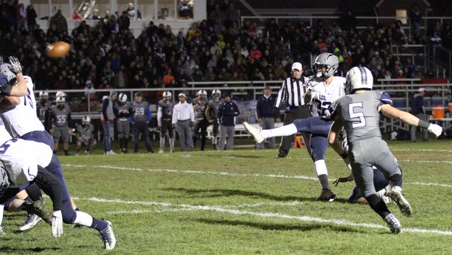 Matt Reilly of Lake Country Lutheran kicked the game-winning field goal with less than 8 seconds left against Clinton in Level 3 of the Division 5 playoffs Nov. 3, 2017.