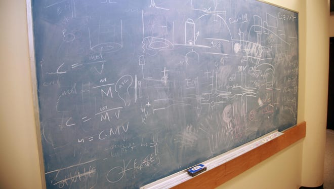 A classroom blackboard with science and math equations.