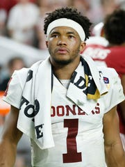 Kyler Murray reacts after losing to Alabama in the College Football Playoff.