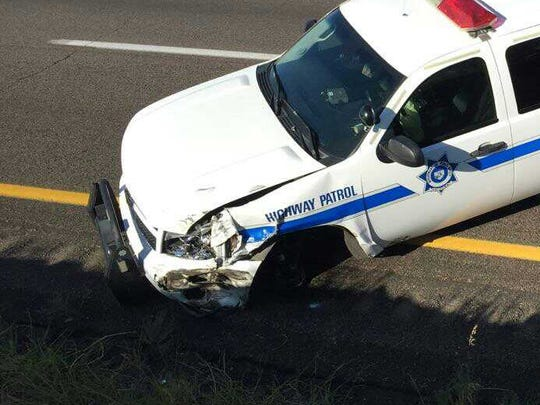 Arizona Department of Public Safety trooper Jeremy Barr's car after using it as a barricade to stop a wrong-way driver on Interstate 17 on Aug. 22.