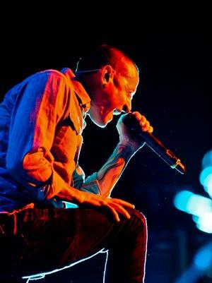 Chester Bennington performs with Linkin Park at Klipsch Music Center in 2012.