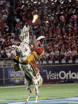 FSU's Osceola and Renegade perform during the pregame before playing Ole Miss at Camping World Stadium in Orlando earlier this season.
