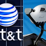 FILE - This file combo made from file photos shows the AT&T logo on the side of a corporate office in Springfield, Ill., left, and a DirecTV satellite dish atop a home in Los Angeles. AT&T on Monday, Aug. 3, 2015 is unveiling a new package that combines traditional TV and wireless services as it seeks to broaden its offerings following its $48.5 billion purchase of satellite TV company DirecTV about a week ago. (AP Photo/File)