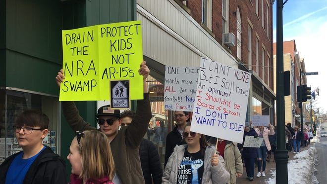 "Marchers in Staunton during Saturday's ""March for Our Lives"" event."