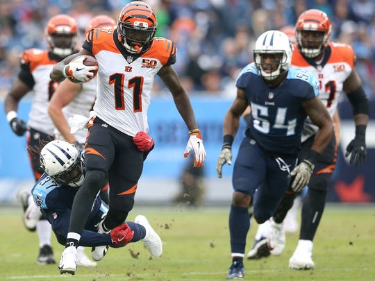 Cincinnati Bengals wide receiver Brandon LaFell (11) carries the ball on a jet sweep in the second quarter during the Week 10 NFL game between the Cincinnati Bengals and the Tennessee Titans, Sunday, Nov. 12, 2017, at Nissan Stadium in Nashville, Tennessee.