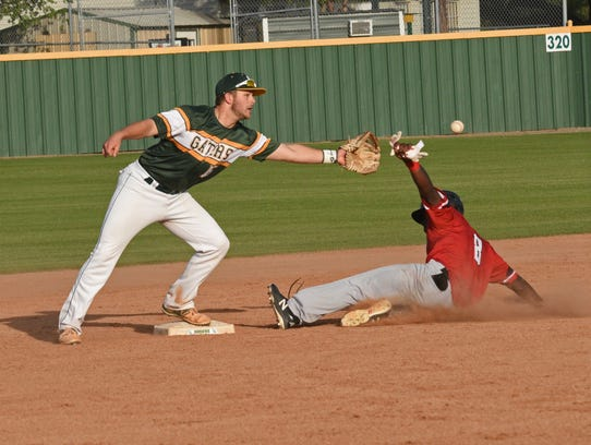 Parkway's Eric Williams is safe at second in their