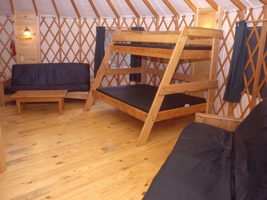 The inside of a deluxe yurt at Umpqua Lighthouse State Park.