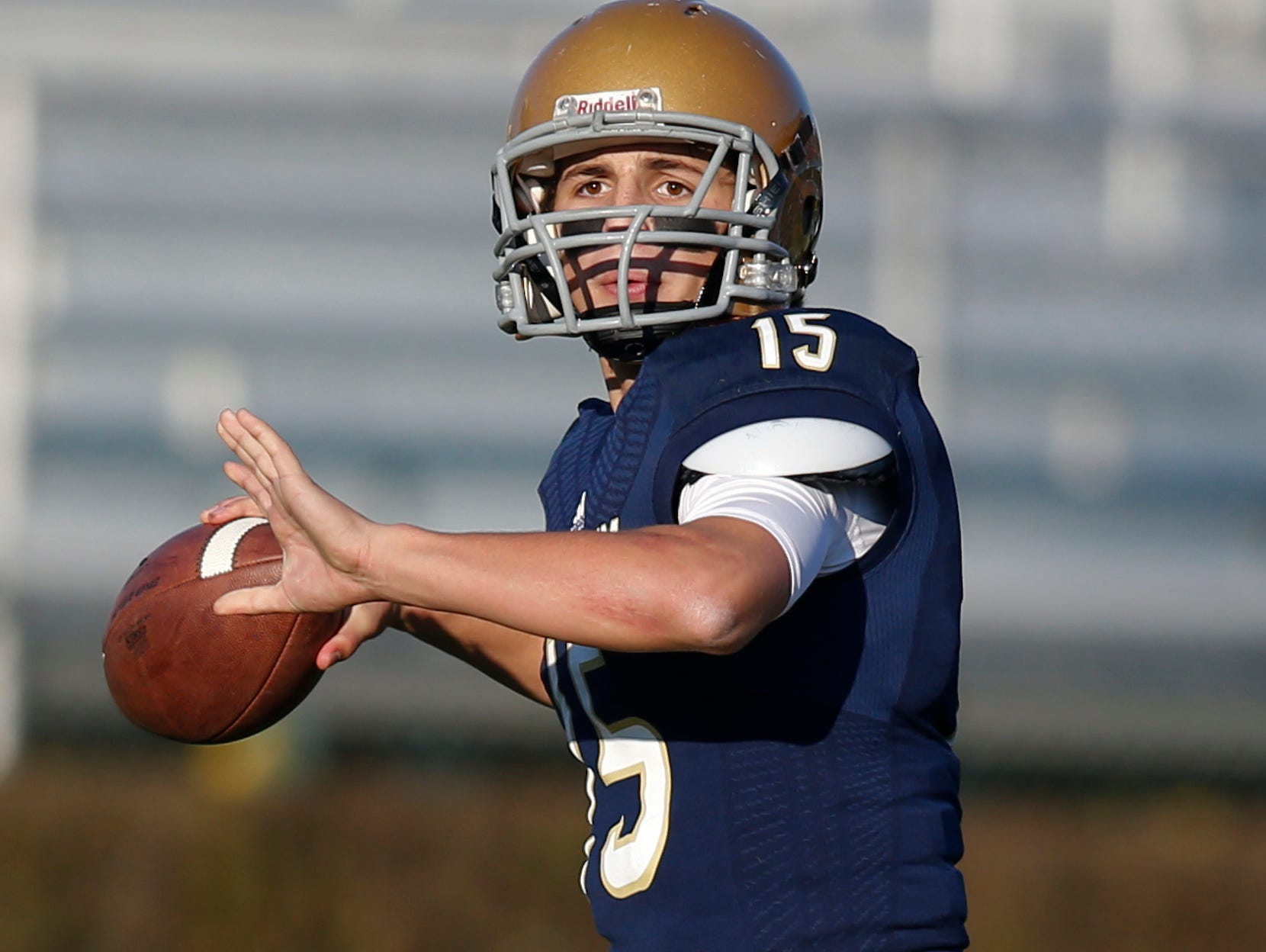 Zach Gwynn returns at quarterback for Salesianum after passing for three TDs in his only start - a 32-26, overtime loss to Smyrna in the DIAA Division I championship game.