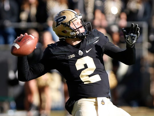 Elijah Sindelar of Purdue with a pass against Indiana