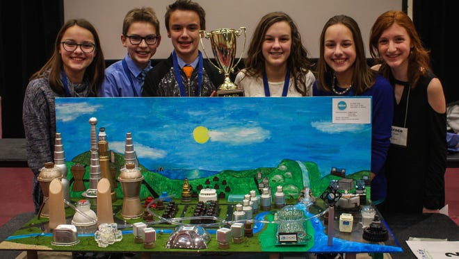 The STEM team of St. Alphonsus School  in Greendale is headed to the national competition in Washington D.C. The team's design of a future city won the regional competition held Jan. 13. They are (from left) Abby Krajnak, Isaac Porter, Quentin Walsh, Isabelle Porter, Maggie Krajnak and Grace Organ.