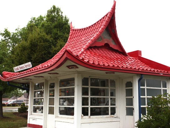 This pagoda-style gas station, designed by Alexander