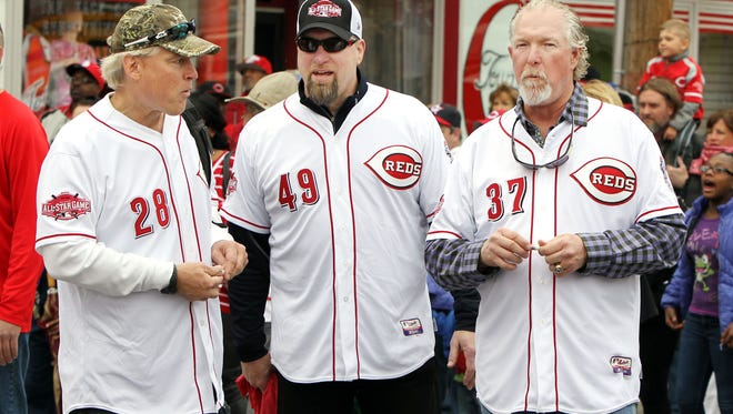 (Left to right) Randy Myers, Rob Dibble and Norm Charlton - the Nasty Boys - grand marshals of the Opening Day Parade earlier this month, await the beginning of the parade.